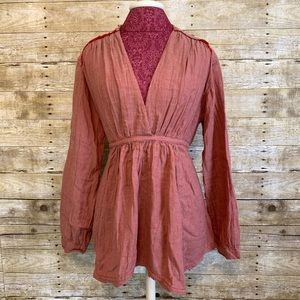 Free People Long Sleeve Red Stripe Blouse Sz M